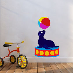 Kakshyaachitra Seal Palying with Ball in Circus Kids Wall Stickers, 24 39 inches