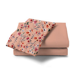 Double Bed Sheet With Two Pillow Covers BS-16, double, pink