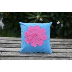 Blue Flower Cushion Cover MYC-10, pack of 1, blue