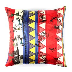 The Elephant Company Cart Warli Square Modern Cushion Covers, red