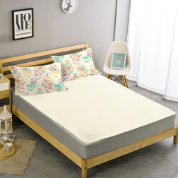 Double Bed Sheet With Two Pillow Covers BS-13, double, cream