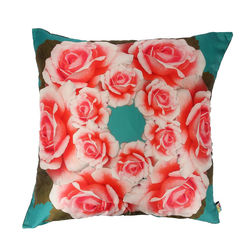 The Elephant Company Water Lily Printed Cushion Covers, red