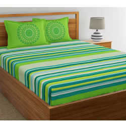 Dreamscape Ethnic Printed Bed sheet with Two Pillowcovers, 100% Cotton 144 Thread Count, double,  green
