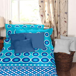 Home Ecstasy 100% Cotton 140TC Single Bed sheet With One Pillow Cover, single, blue