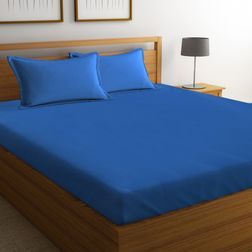 Satin Bed sheet 100% Cotton 600TC High Thread count with Two Pillowcovers, double, blue