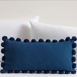 Navy Pom Pom Lace Cushion Cover MYC-60, pack of 1, blue
