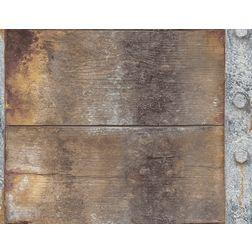 Elementto Creative Wood & Steel Design Modern 3D Wallpaper for Walls - td32302, brown
