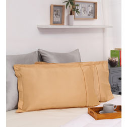 Dreamscape 100% Cotton 250TC Percale Yellow Pillow Pair, yellow