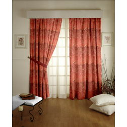 Constellation Floral Readymade Curtain - MI106, window, orange