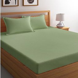Satin Bed sheet 300 Thread Count with Two Pillowcovers, 100% Cotton King & Double,  sage, double