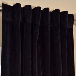 Softy Solid Readymade Curtain - SJ818Bluelack, door, black