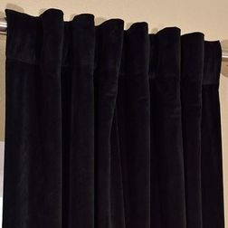 Softy Solid Readymade Curtain - SJ818Bluelack, door, black
