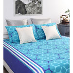 Home Ecstasy 100% Cotton 140TC One Bed sheet With Two Pillow Covers, blue, double