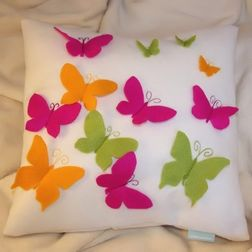 Butterfly Cushion Cover MYC-64, pack of 1, white