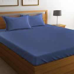Satin Bed sheet 100% Cotton 400TC High Thread count with Two Pillowcovers, double, blue