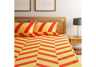 Dreamscape 100% Cotton 144TC One Bed sheet With Two Pillow Covers, double, orange