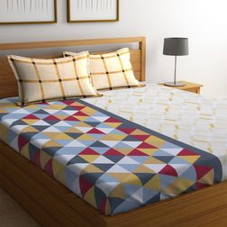 100% Cotton Bedsheets For Double Bed With 2 Pillow Covers, Dreamscape 140 TC Geometric Printed Bedsheet, double, orange