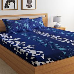 100% Cotton 144TC Geometric Designs Bed Sheet with 2 Pillow Covers, double, blue