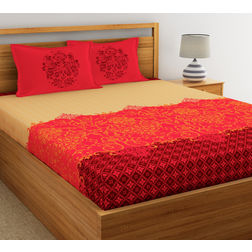 Dreamscape Ethnic Printed Bed sheet with Two Pillowcovers, 100% Cotton 144 Thread Count, double,  orange