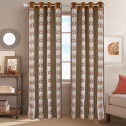 Sheer Curtains Dreamscape, Floral Beige Sheer Curtains, beige, door