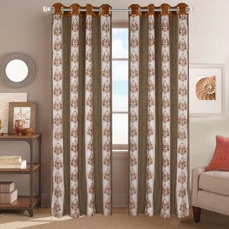 Sheer Curtains Dreamscape, Floral Beige Sheer Curtains, beige, door