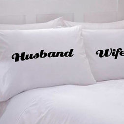 Husband Wife Pillow Cover MYC-95, pack of 2, white