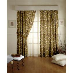 Romania Floral Readymade Curtain - 46, window, yellow