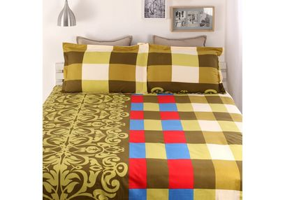 100% Cotton 220TC One Bed sheet With Two Pillow Covers, double, green