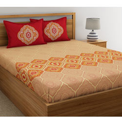 Dreamscape Ethnic Printed Bed sheet with Two Pillowcovers, 100% Cotton 144 Thread Count, double,  pink