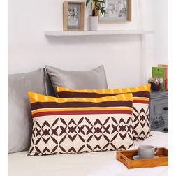 HomeEcstasy 100% Cotton 140TC Printed Brown Pillow Pair, orange
