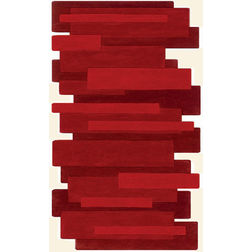 Floor Carpet and Rugs Hand Tufted AC ConceptAbstract Red Carpets Online - SC-17-L, 3ftx5ft, red