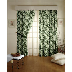 Raindrop Floral Readymade Curtain - 31, green, door