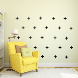 Kakshyaachitra Plus Sign Pattern Wall Stickers For Bedroom And Living Room, 24 24 inches