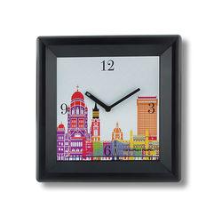 The Elephant Company Grey Modern Cityscape Home Wall Clocks, white