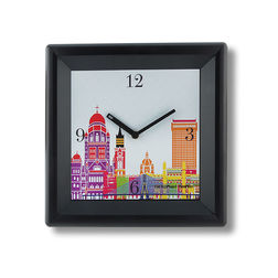 The Elephant Company Grey Modern Cityscape Home Wall Clocks, white