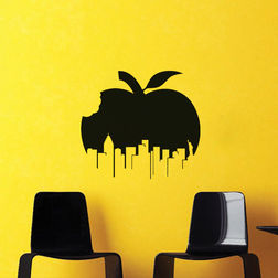 Kakshyaachitra Apple City Wall Stickers For Bedroom And Living Room, 24 22 inches