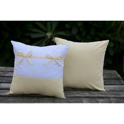 Set of 2 Bow Cushion Cover MYC-28, pack of 2, white