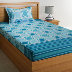 100% Cotton 140TC Floral Design Single Bed sheet With One Pillow Cover,  light blue, single