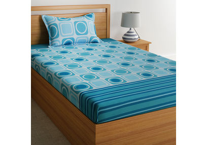 100% Cotton Single Bed Sheets Online Sale, 140TC Single Bedsheet With Pillow Cover, Single Bed Sheet by Home Ecstasy,  light blue geometric, single