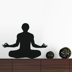 Kakshyaachitra Meditation Yoga Pose Design Wall Stickers For Bedroom And Living Room, 24 19 inches