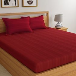 Satin Bed sheet 300 Thread Count with Two Pillowcovers, 100% Cotton,  maroon, double
