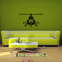 Kakshyaachitra Fighter Helicopter Wall Stickers For Kids Room, 24 13 inches