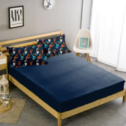 Double Bed Sheet With Two Pillow Covers BS-28, double, blue