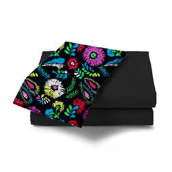 Double Bed Sheet With Two Pillow Covers BS-22, double, black