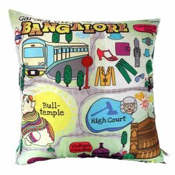 The Elephant Company Bangalore Map Square Designer Cushion Covers, green