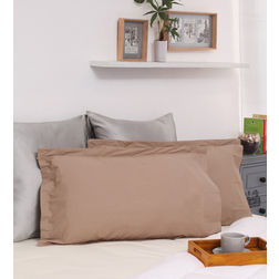 Dreamscape 100% Cotton 250TC Percale Khaki Pillow Pair, khaki