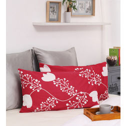 HomeEcstasy 100% Cotton 140TC Printed Red Pillow Pair, red