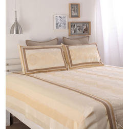Dreamscape Polycotton Beige Damask Bedcover, with 2  pillow covers, beige