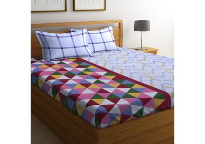 100% Cotton Bedsheets For Double Bed With 2 Pillow Covers, Dreamscape 140 TC Geometric Printed Bedsheet, double, grey