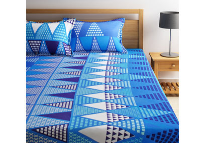 100% Cotton Double Bedsheet Online Sale, 140TC Double Bed Sheet With Pillow Cover, Double Bed Sheets Sale by Home Ecstasy, double,  sea blue